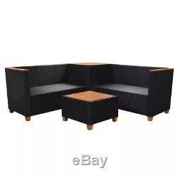 14 Piece Garden Sofa Set Poly Rattan WPC Top 4 Seater with Storage Box Armrest