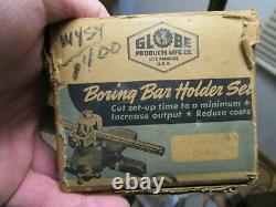 1945 NOS In Box Globe Top Slide Boring Bar Set Holder Bars Wrench Lathe Mod OAA