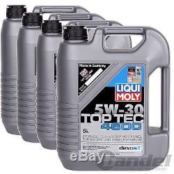 7,50/L 20L LIQUI MOLY TOP TEC 4600 5W-30 MOTORÖL 4x 5 LITER OPEL DEXOS 2 VW
