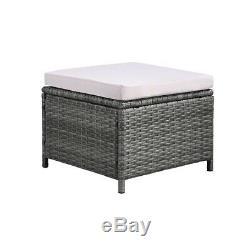 9pcs Cube Garden Patio Set Low back Chairs Dark Grey PE Rattan Glass Table Top
