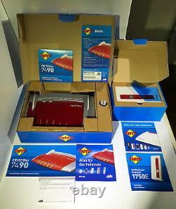 AVM FRITZ! Box 7490 + WLAN Repeater 1750E Mesh Set, TOP wie neu! Nichtraucherhaus