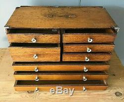 Antique Vintage Desk Top Set Collectors Specimen Bank Chest Of Drawers