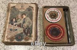 Antique c1900 Marklin Tin Tinplate Spinning Top Set In Box
