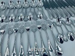 Christofle PERLES Flatware Table Dinner set Silver plate 48 pcs 12 Pers BOX TOP