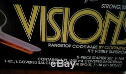 Corning Ware Visions Range top Cookware Amber 5 Piece Starter Set, New-open box