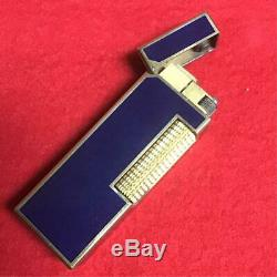 Dunhill lighter gas roller blue lacquer Top condition USED O. H box set