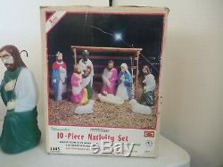 EMPIRE BLOW MOLD SET OF 10 NATIVITY SCENE Vintage! TABLE TOP SIZE ORIGINAL BOX