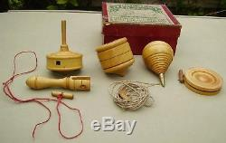 F H Ayres boxed set of antique treen boxwood spinning tops A Present for Boys