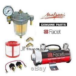 Facet Red Top Fuel Pump Box Set + Filter King Glass Regulator + Fuel Gauge