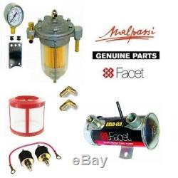 Facet Silver Top Fuel Pump Box Set 6.5-8.0 Psi + Filter King Regulator + Gauge