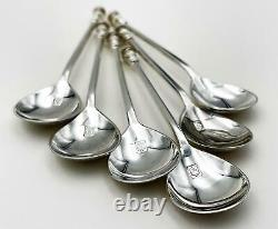 Fine Set 6 Vintage STERLING SILVER SEAL TOP COFFEE SPOONS BOXED London 1963