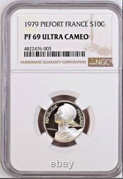 France 1979 Set 10 Silver Piefort Coins Paris NGC PF67-69 Low Mint. Box Top Pop