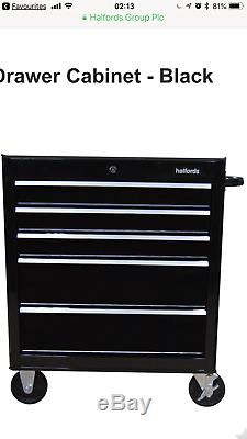 Halfords black Tool Box Chest Set Roll Cab and Top box