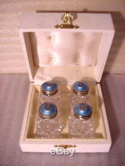 Hroar Prydz of Norway Set of 4 Crystal Shakers w Sterling Enameled Tops in Box
