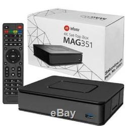 Infomir MAG 351 Set Top Box IPTV Linux 4K UHD HEVC In-built Wifi/Bluetooth