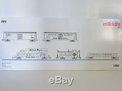 Märklin 4863 USA Güterwagen-Set II, 5 x Güterwagen, Box Car, Gondola, TOP! OVP