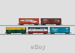 Märklin H0 45655 Set mit 5 Box Cars, verschiedene Bahngesellschaften, Top