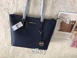 Michael Kors 100% Jet Set Travel Saffiano Leather Top Zip Tote Navy Boxed