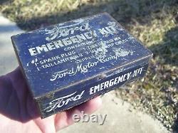 Original Ford motor co. Emergency kit tin box can tool auto vintage bulb plugs