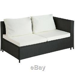 Rattan Seating Set 6PC 2 Sofas 1 Table Glass Top 1 Storage Box Cushions Black