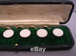 Set Of Fabulous (6) Vintage 9ct Gold With Great Stone Top Shirt Studs Boxed