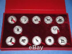 Silber Set 1 Oz Unze 12 x Lunar I 1999 2010 Münzbox Top Erhaltung Australien