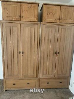 Solid Oak Double Wardrobes Set Of Two With Top Boxes