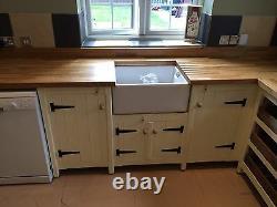 Solid Pine Freestanding Kitchen Belfast Butler Sink Corner Set Up Oak Top