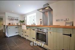Solid Pine Freestanding Kitchen Belfast Butler Sink Long Corner Set Up Oak Top