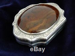 Stone set 18th Century Scottish Silver Pocket Snuff box, top quality & condition