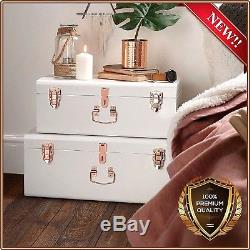 Storage Box Vintage Trunk Chest Metal White Rose Gold Set Of 2 NEW Top Quality