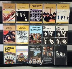 THE BEATLES COLLECTION 16 used cassettes in Wooden Roll Top Box Set lot