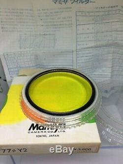 TOP MINT in BOXMamiya 77mm Y2 YG O2 UV SL ND16 Filter 6 Set For RB67 RZ JAPAN