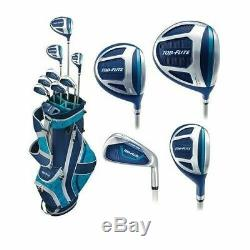 Top Flite Golf XL Women's Complete Box Club Set Ladies Teal Blue LEFT HANDED