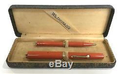 Waterman 52 1/2 V Ring Top Cardinal RHR Red Fountain Pen Pencil Set Original Box