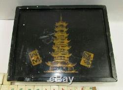 Antique Bone & Bamboo Set Mahjong Dans La Diapositive Top Box Complète Mah Jong