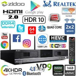 Zidoo X20 2g Ddr4 16g Realtek Rtd1296 4k Hdr Android Tv Set Top Box Double Disque Dur Nas
